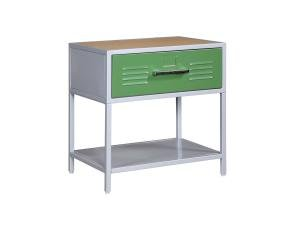 Image of Kids Nightstand in Silver Finish - Powell Teen Trends Collection (B003U2C5WQ)