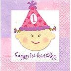 Happy 1st Birthday Girl - 10 Inch Beverage Napkin - 16/pkg. - 1