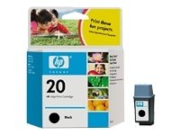 C6614D (HP 20) Ink, 500 Page-Yield, Black