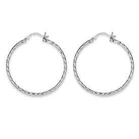 Genuine IceCarats Designer Jewelry Gift Sterling Silver Twisted 40Mm Hoop Earrings