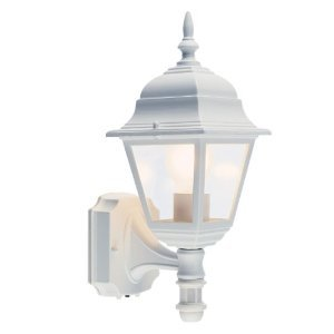 Outdoor White Pir Security Sensor Traditional Lantern Shape Flood Light. Self Contained & Waterproof Unit. Movement Detecing Floodlamp Floodlight Detector Lamp