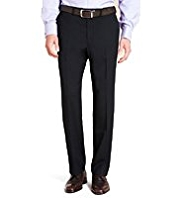 Supercrease® Active Waistband Flat Front Trousers with Wool