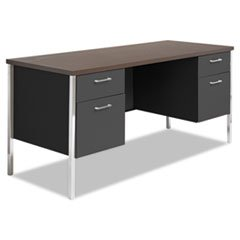 * Double Pedestal Steel Credenza, 60w x 24d x 29-1/2h, Walnut/Black