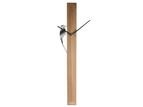 Karlsson KA5418WD Wanduhr Woodpecker Tube Stahl Holz