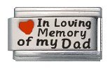 In Loving Memory of My Dad Enamel Red Heart Laser Italian Charm