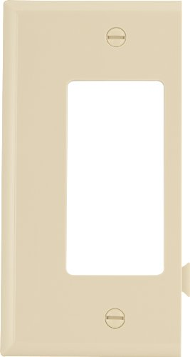 Cooper Wiring Devices Ste26V Polycarbonate 1-Gang Decorator Sectional Mid Size End Wall Plate, Ivory