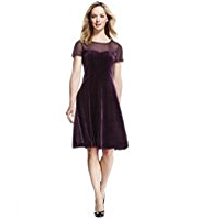 M&S Collection Chiffon & Velour Skater Dress