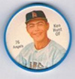 1962 Salada Tea Coins (Baseball) Card# 76 Ken Hunt (White Buttons) Of The Los Angeles Angels Ex Condition