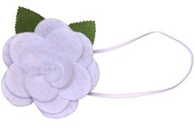Baby Flower Headband. Stretchy for Infant, Toddler, Girl. Skinny Headband. Felt Rose Allie White.