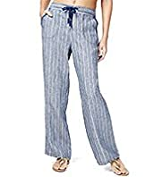 Pure Linen Striped Wide Leg Beach Trousers