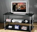 Premier Housewares TV Unit 3 Tier with Wheels/Black Glass Shelves/Chrome Frame, 55 x 50 x 106 cm