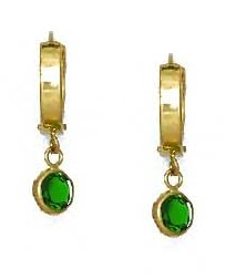 14ct Yellow Gold 5 mm Round Green CZ Drop Hinged Earrings