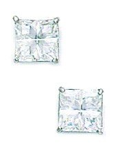 14k White Gold 5x5mm 4 Segment Square CZ Basket Set Earrings - JewelryWeb