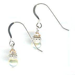 Fresh Water Pearl and Swarovski Crystal Earrings - French Wire