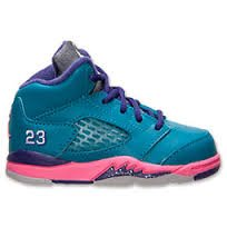 Nike Jordan 5 Retro Kids (TD) Toddler Tropical Teal/Digital Pink/Court Purple/White 440890-307 (SIZE: 9.5C)