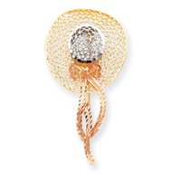 14k Tri-Color Filigree Diamond-cut Hat Pin - JewelryWeb