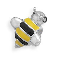 Sterling Silver Yellow and Black Bumble Bee Story Bead Charm Bead Is 6mm X 14mm - JewelryWeb