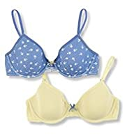 2 Pack Angel Cotton Rich Assorted Underwired AA-D Bras