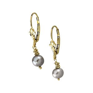 14k Yellow Gold Lever Back Earring With Grey Pearl 5.5-6mm - JewelryWeb
