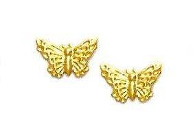 14k Yellow Butterfly Friction-Back Post Earrings - JewelryWeb