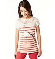 Autograph Girl & Dog Sequin Striped T-Shirt