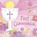 beverage napkins medium count first communion pink - 1