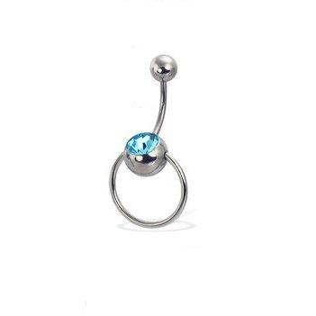 Curved Barbell Christina Vertical Hood VCH Slave Ringdoor Knocker Jewelry Genital Piercing 1/2 (AQUA) (Vertical Hood Piercing compare prices)