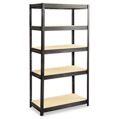 -- Boltless Steel/Particleboard Shelving, 5 Shelves, 36w x 18d x 72h, Black