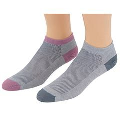 WrightSock Double Layer Coolmesh Low Sock - 2 Pack, S, Light Grey & Blush