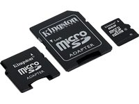 Kingston 8 GB microSDHC Class 4 Flash Memory Card with SD and miniSD Adapters SDC4/8GB-2ADP