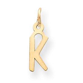 14k Small Slanted Block Initial K Charm - Measures 17.8x5.4mm - JewelryWeb
