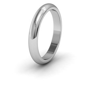 Palladium, 3mm Wide, 'D' Shape Heavy Weight Wedding Ring - Size M