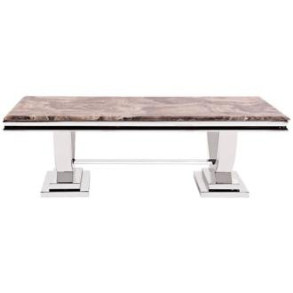 Howard Elliott Faux Marble Top Stainless Steel Coffee Table