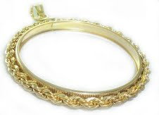Coin bezel 20 Franc (Angel/Rooster) Gold Filled Rope