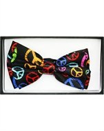 Outer Rebel Fashion Bow Tie- Multicolored Peace Signs on Black