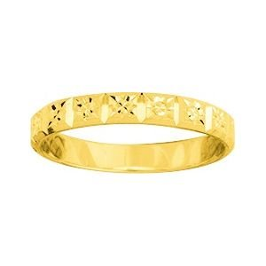 So Chic Jewels - 9k Yellow Gold 3 mm Fantasy Pattern Wedding Band Ring