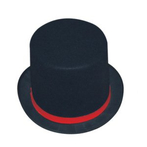 Tuxedo Top Hat Adult Costume Accessory With Red Rim