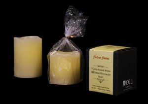 LED Wax Vanilla Scented Pillar Candle from Flicker Flame
