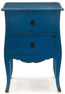 Mesita Mini 2 - Mesita Cajonera color Azul fabricada en madera con tiradores metálicos y estilo envejecido