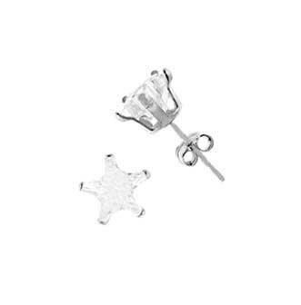 .925 Sterling Silver Stud In Stamping Setting With White Cubic Zirconia Star Shape 5 mm