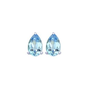 Sterling Silver, Pear Shaped Genuine Blue Topaz Stud Earrings (7.00 mm x 5.00...