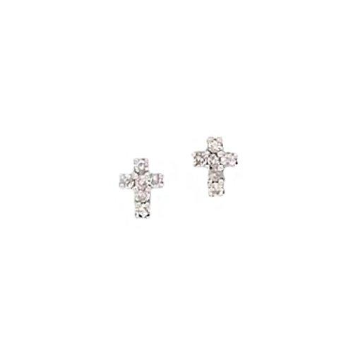 14K White Gold 0.12 ct. Diamond Cross Earrings