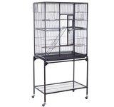 "Pawhut Large Metal Bird Cage Aviary w/ Stand - 32"" x 18"" x 63"""