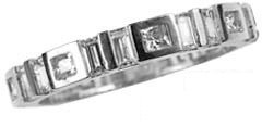 14k White Gold, Fancy Eternity Endless Band Ring with Created Gems