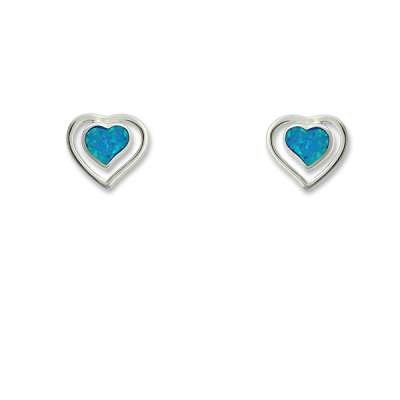 New Style Studd Earrings Sterling Silver with Blue Inlay Opal Center Heart Shaped with Outer Open Heart(WoW !With Purchase Over $50 Receive A Marcrame Bracelet Free)