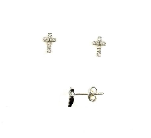 Small 0.03ct Diamond 8.3x6mm Cross Earrings Studs 925 Sterling Silver Friction Backs