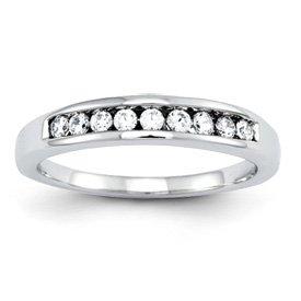 Genuine IceCarats Designer Jewelry Gift 14K White Gold Diamond Wedding Band Size 7.00