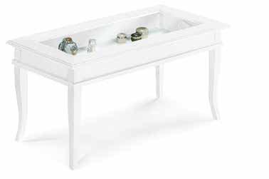 Mesa de centro baja rectangular con vidrio, estilo clasico, en madera maciza y mdf con acabado blanco mate - Medidas 100 x 50 x 45