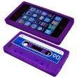 PURPLE RETRO CASSETTE SILICONE CASE FOR IPHONE 4 4G