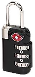 Lewis N. Clark TSA 3 Dial Combination Lock, Black